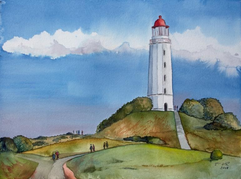 Leuchtturm Dornbusch (c) Ein Hiddensee Aquarell von Frank Koebsch