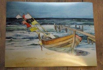 Posterdruck vom Aquarell - Boot am Strand (c) Frank Koebsch