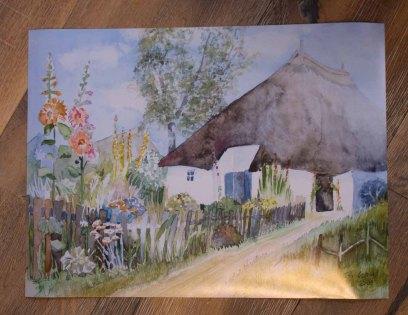 Posterdruck vom Rügen Aquarell - Garten vor dem Pfarrwitwenhaus (c) Frank Koebsch