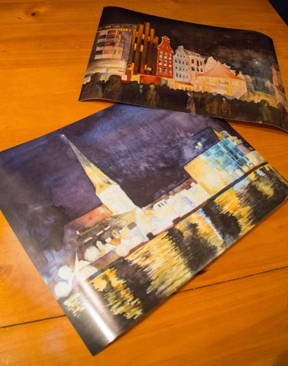 Posterdrucke von den Aquarellen - Hanse-Wahrzeichen bei Nacht und - Rostocker City – illuminiert (c) Frank Koebsch