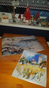 Posterdrucke von den Rügen Aquarellen - Leuchttürme auf Kap Arkona - und - Gezeichnet von Meer und Wind (c) Hanka Koebsch