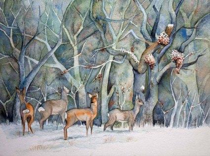 Rehe im Winterwald (c) Aquarell von FRank Koebsch