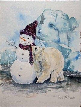 Auf dem Weg zum Nordpol (c) ein Schneemann Aquarell von Hanka Koebsch.