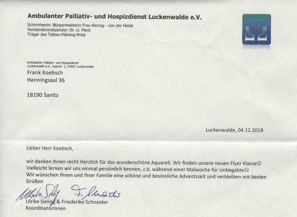Brief des Ambulanten Palliativ- und Hospizdienst Luckenwalde e.V. - Überlassung des Kranich Aquarells - auf dem Weg nach Rügen