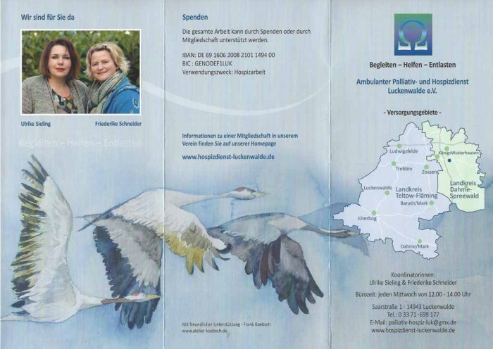 Flyer des Ambulanten Palliativ- und Hospizdienst Luckenwalde e.V. - Überlassung des Kranich Aquarells - Auf dem Weg nach Rügen