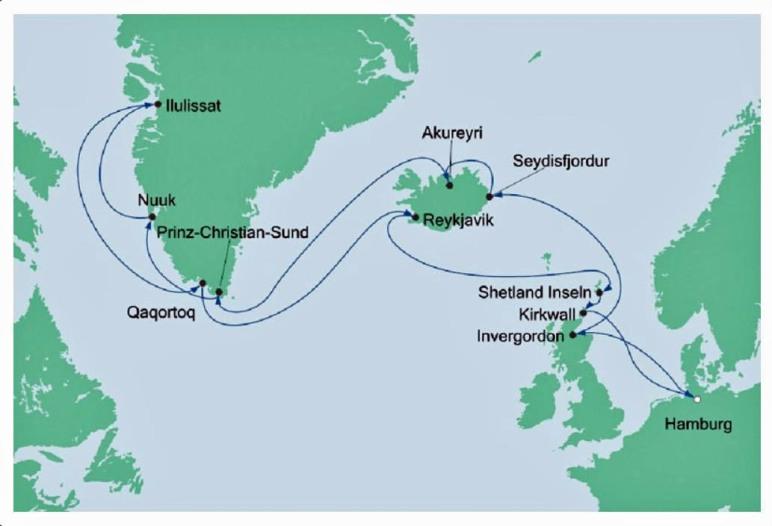 Karte der Kreuzfahrt Grönland - Island mit der AIDAcara - Foto AIDA Cruises