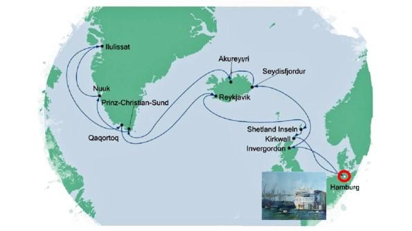 Karte der Kreuzfahrt Grönland - Island mit der AIDAcara, Hamburg - Karte AIDA Cruises - Aquarelle Hanka & Frank Koebsch
