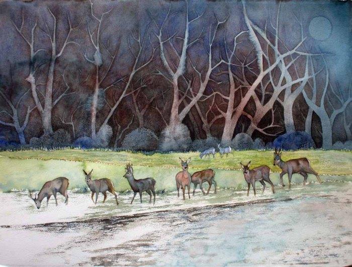Abends bei den Rehen im Winterwald (c) Aquarell von FRank Koebsch