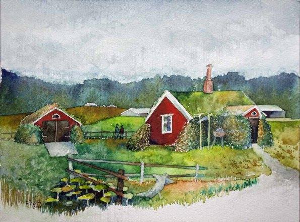 Grassodenhaus in Bakkagerði © ein Island Aquarell von Frank Koebsch