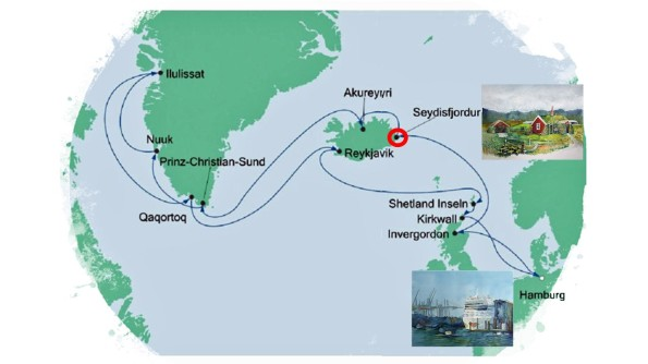 Karte der Kreuzfahrt Grönland - Island mit der AIDAcara, Seyðisfjörður - Karte AIDA Cruises - Aquarelle Hanka & Frank Koebsch