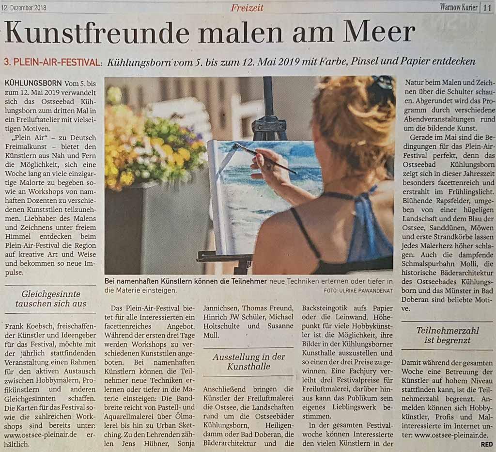 Kunstfreunde malen am Meer - 3. Plein Air Festival - Warnow Kurier 2018 12 12