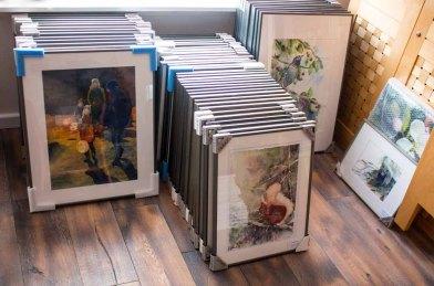 Ausstellungsvorbereitungen - unsere gerahmten Aquarelle (c) Frank Koebsch
