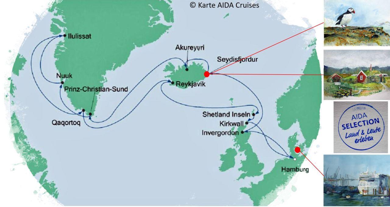 Karte der Kreuzfahrt Grönland - Island mit der AIDAcara, Borgarfjörðu- Karte AIDA Cruises - Aquarelle Hanka & Frank Koebsch