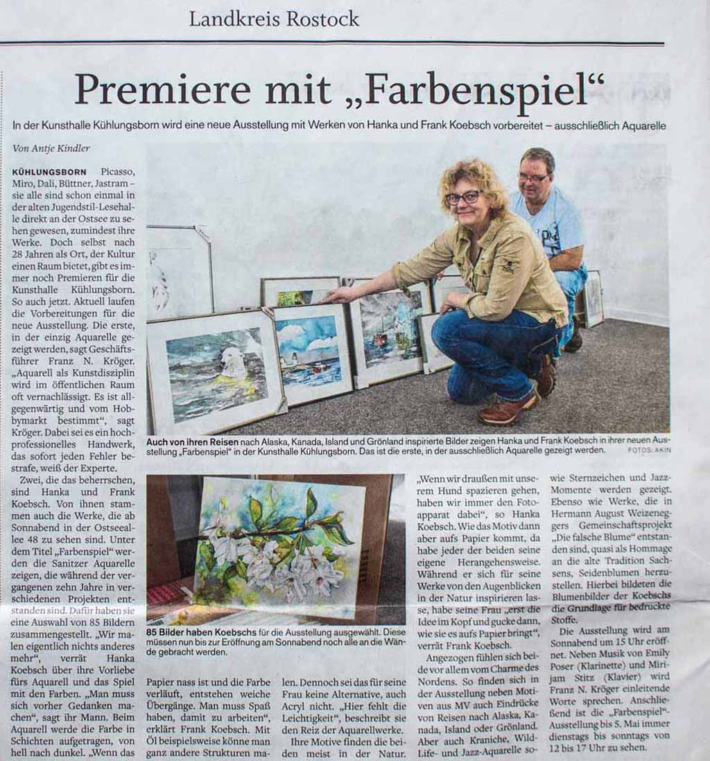 Premiere mit - Farbenspiel - Norddeutsche Neuste Nachrichten 2019 03 14