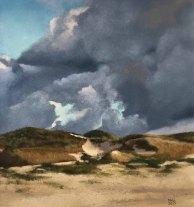Susanne Mull , Nordische Küstenlandschaft, 29 x 27 cm, Pastell, 2017