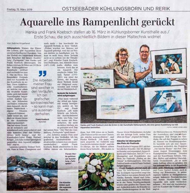 Aquarelle ins Rampenlicht gerückt - Ostsee Zeitung 2018 03 15