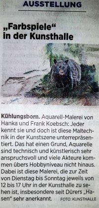 Farbspiele - in der Kunsthalle - Ausstellungshinweis in der OstseeZeitung 2019 03 21
