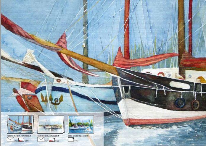 Kunstkarten mit Booten und Schiffen von H&F Koebsch im Frühlings- und Sommerprogramm 2019 des Präsenz Verlages