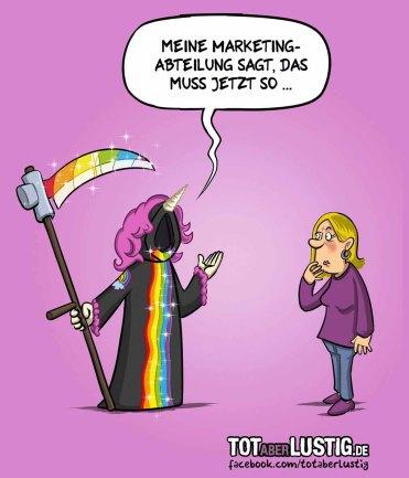Tod des Einhorns – aus der Cartoon Serie – Tot aber lustig – von Michael Holtschulte