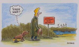 Vierbeiner bitte anleinen – Cartoon von Michael Holtschulte