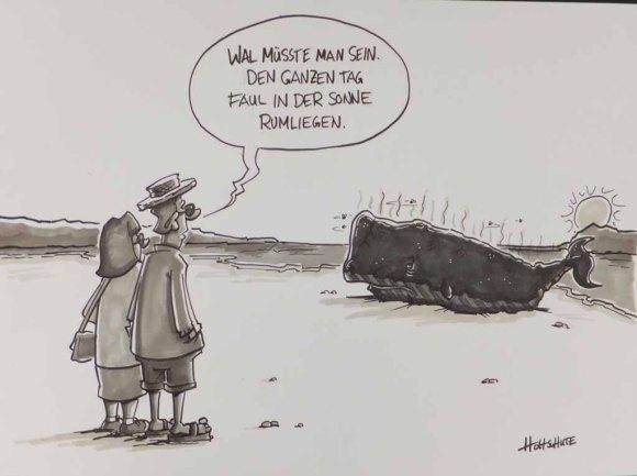Wal müsste man sein – Cartoon von Michael Holtschulte