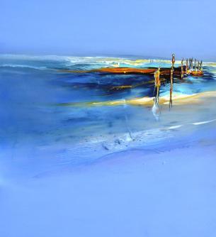 y Abstrakte Landschaft 11-2015, Acryl auf Baumwollsegeltuch, 130 cm x 120 cm