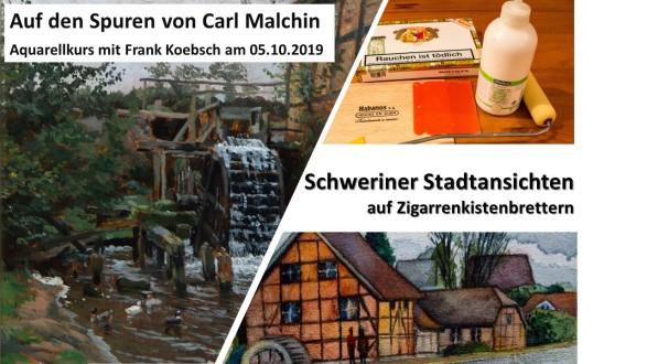 Aquarellkurs - Schweriner Stadtansichten auf Zigarrenkistenbrettern (c) FRank Koebsch