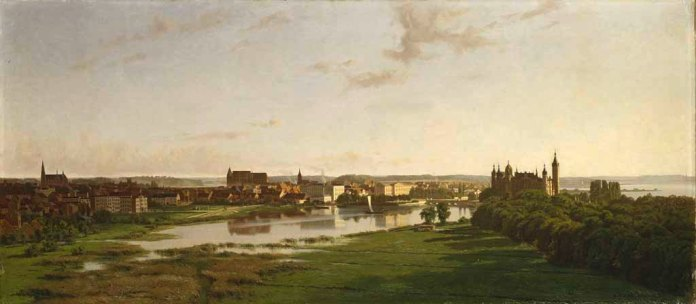 Carl Malchin, Blick vom Artillerieberg auf Schloss und Stadt Schwerin, 1876 © Staatliche Schlösser, Gärten und Kunstsammlungen Mecklenburg-Vorpommern