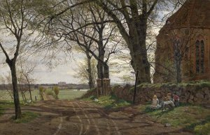 Carl Malchin – Carl Malchin - Vorfrühling, Feldweg bei der Dorfkirche Gressow (1885), Öl auf Leinwand - Wikimedia