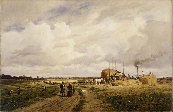 Carl Malchin – Einsatz der ersten Dreschmaschine in Lankow bei Schwerin (1882) Öl auf Leinwand - Wikimedia