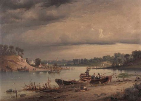 Carl Malchin – Flussufer mit Fischern (1885) Öl auf Leinwand - Wikimedia