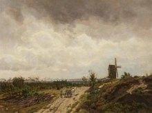 Carl Malchin – Sommerweg bei der Mühle mit Blick auf Schwerin (1917), Öl auf Leinwand - Wikimedia