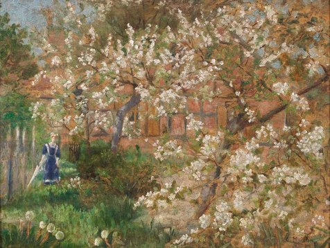 Carl Malchin - Frühlingslandschaft mit Mädchen in einem Bauerngarten. Öl auf Malkarton - Wikimedia