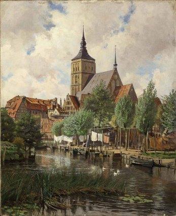 Carl Malchin, Stadtansicht Rostock mit St. Nikolai, um 190708 © Staatliche Schlösser, Gärten und Kunstsammlungen Mecklenburg-Vorpommern