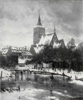 Carl Malchin - Winter - Motiv aus Rostock (1898), Öl auf Leinwand - Wikimedia