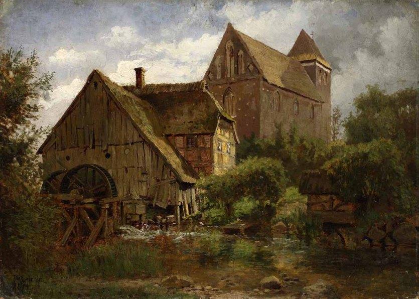 Carl Malchin. Wassermühle und Kirche zu Mühlen - Eichsen, 1872 © Staatliche Schlösser, Gärten und Kunstsammlungen Mecklenburg-Vorpommern