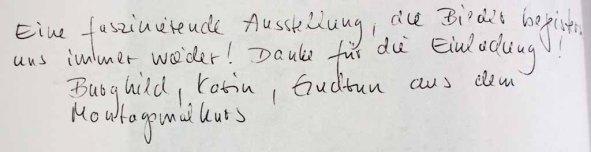 Gästebucheintag Burghild, Karin & Gudrun - Ausstellung Farbstpiele - Aquarelle von Hanka & FRank Koebsch