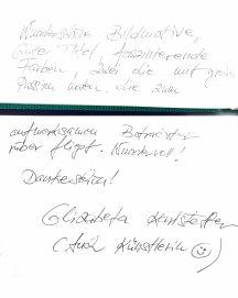 Gästebucheintag - Elizabeta Karlstetter Karlsteffer - Ausstellung Farbstpiele - Aquarelle von Hanka & FRank Koebsch