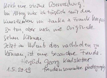 Gästebucheintag - Georg Karlstetter - Präsenz Verlag - Ausstellung Farbstpiele - Aquarelle von Hanka & FRank Koebsch