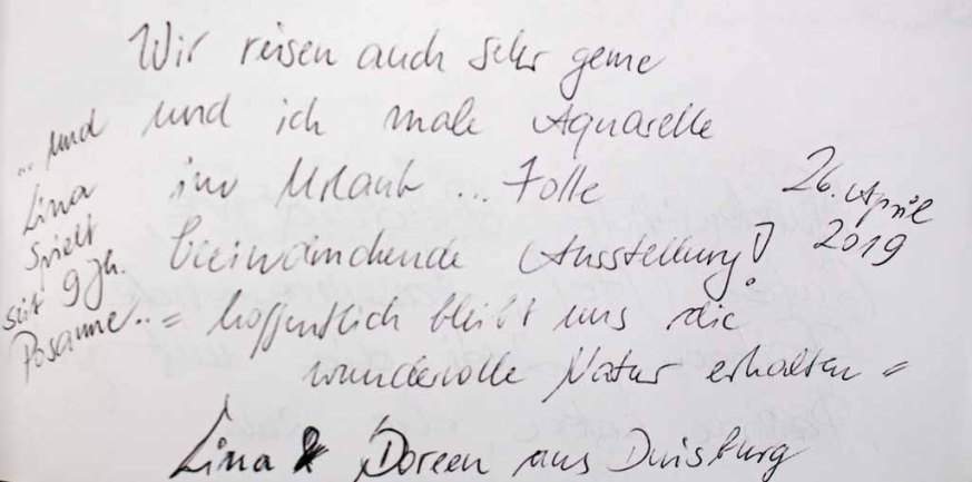 Gästebucheintag Lina & Doreen- Ausstellung Farbstpiele - Aquarelle von Hanka & FRank Koebsch