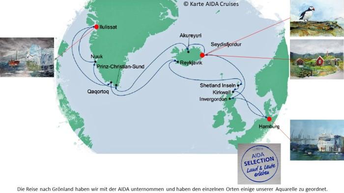 Karte der Kreuzfahrt Grönland – Island mit der AIDAcara, Grönland - Diskobucht – Karte AIDA Cruises – Aquarelle Hanka & Frank Koebsch