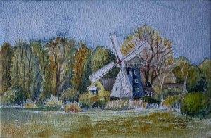 Ahrenshhoper Mühle (c) Aquarell von Frank Koebsch auf einem Zigarrenkistenbrett