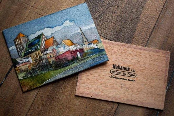 Das Aquarell - Rostocker Nikolaikirche - auf einem Zigarrenkistenbrett (c) Frank Koebsch