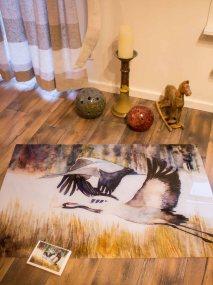 Druck auf Acrylglas und Kunstkarte von dem Kranich Aquarell – Majestätisch © Frank Koebsch