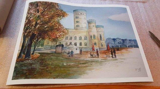 Druck auf Hahnemühlepapier - Albrecht Dürer von dem Rügen Aquarell – Herbst am Jagdschloss Granitz © Frank Koebsch (1)