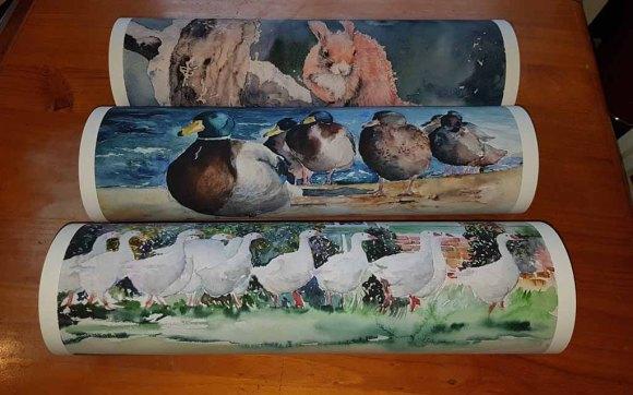 Drucke auf Hahnemühlepapier - Albrecht Dürer von den Aquarellen – Im Gänsemarsch, Strandspaziergang und Besetzt © Hanka Koebsch