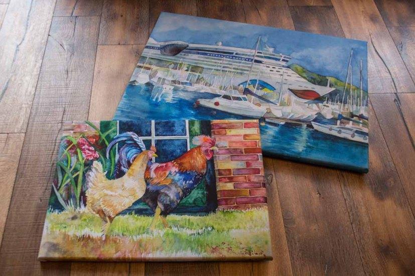 Drucke auf Leinwand von den Aquarellen - AIDA im Hafen von Cartagena – und – Glückliche Hühner © Frank Koebsch (1)