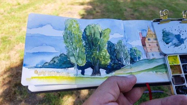 Eine Skizze vom Schloss Ulrichshusen entsteht (c) Frank Koebsch (1)