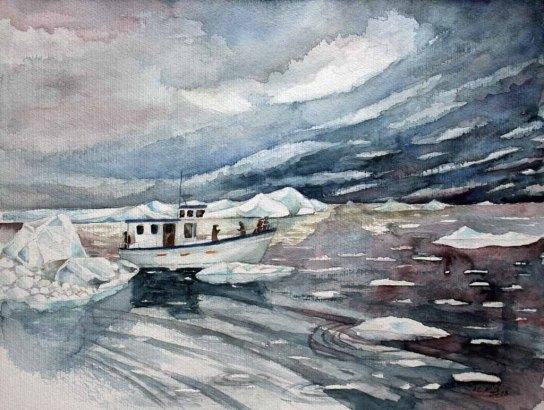 Entdeckungen im Eis der Diskobucht (c) ein Grönland Aquarell von Frank Koebsch