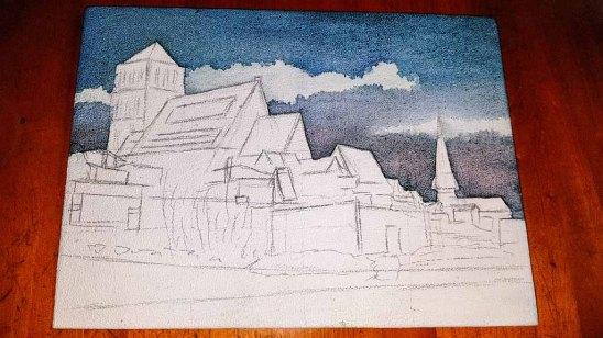 Erster Farbauftrag auf dem Aqua Grund im Bereich des Himmels für das Aquarell -Rostocker Nikolai Kirche (c) Frank Koebsch